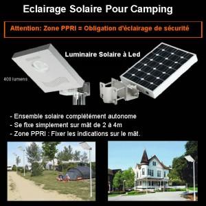 Eclairag de sécurité solaire à led pour camping et hotellerie de plein air