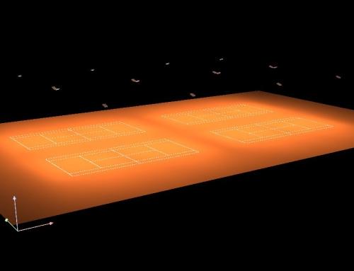 Clairage de cours de tennis sous bulle par projecteur led for Eclairage court de tennis exterieur