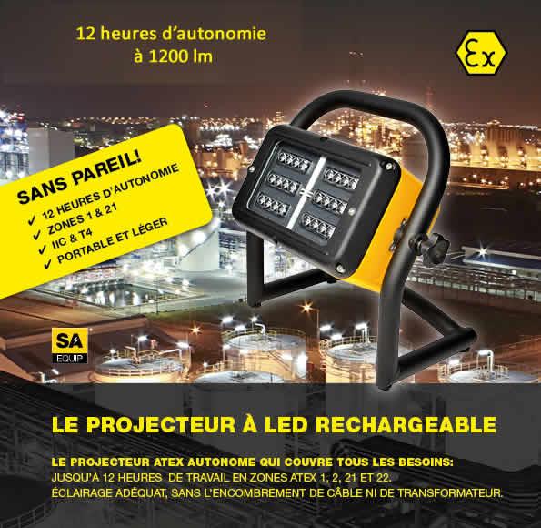 projecteur atex autonome 12 heures eclairage industriel. Black Bedroom Furniture Sets. Home Design Ideas